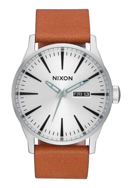 Nixon Sentry Leather Silver Tan Asturias