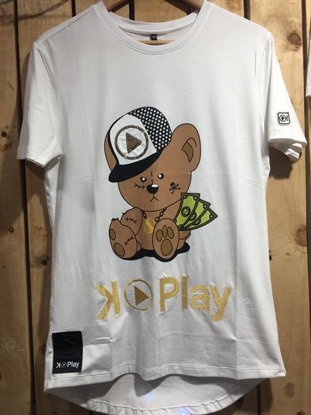 hottershop Kplay Camiseta Oso Gorra Blanco Unisex