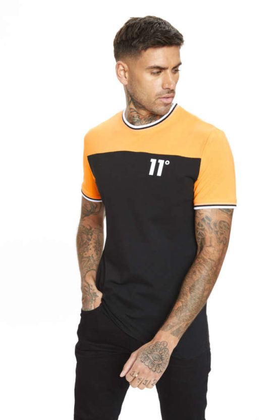 hottershop 11 Degrees CUT & SEW RIBBED T-SHIRT ORANGE