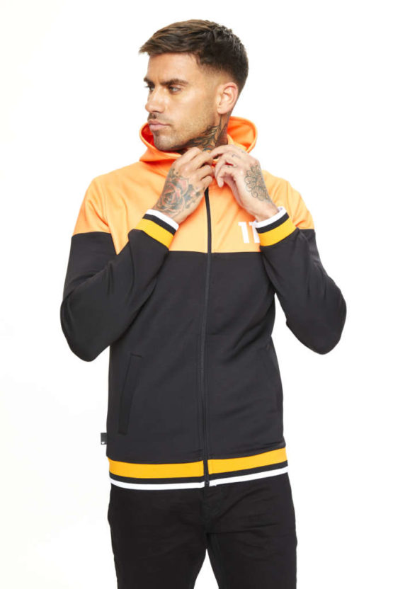 hottershop 11 Degrees RIBBED FULL ZIP POLY TRACK TOP WITH HOOD