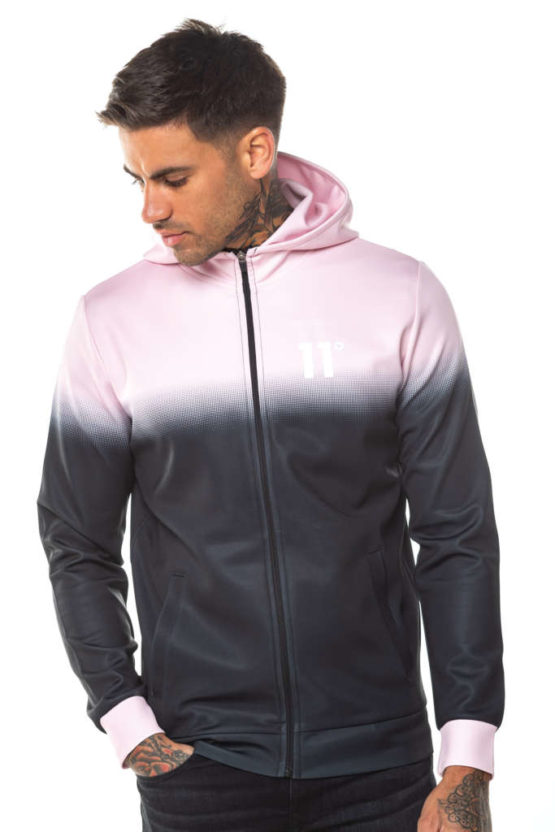 hottershop 11 Degrees DOT FADE FULL ZIP POLY TRACK TOP WITH HOOD asturias