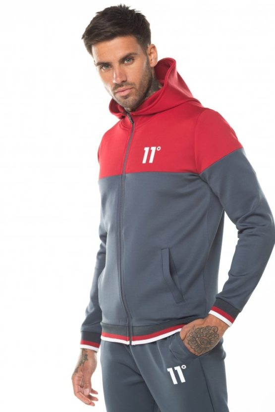 hottershop 11 Degrees Ribbed Full Zip Poly Track Top With Hood - Anthracite Ski Patrol Red asturias