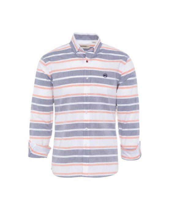 hottershop Altonadock Camisa Rayas Blanco Gris y Naranja asturias