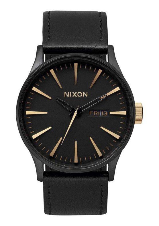 hottershop Nixon Sentry Leather Matte Black Gold