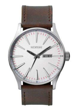 hottershop Nixon Sentry Leather Silver Brown