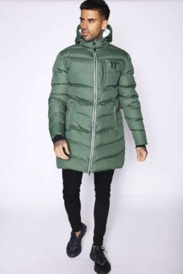 hottershop 11 Degrees Abrigo LONG LINE CHEVRON PUFFER FOREST GREEN