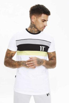 hottershop 11 Degrees MERCURY MESH PRINT CUT AND SEW MUSCLE FIT T-SHIRT WHITE