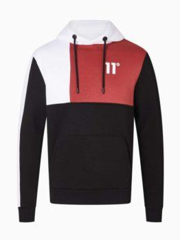 hottershop 11 Degrees BOXY BLOCK PULLOVER HOODIEBLACK BRICK RED WHITE