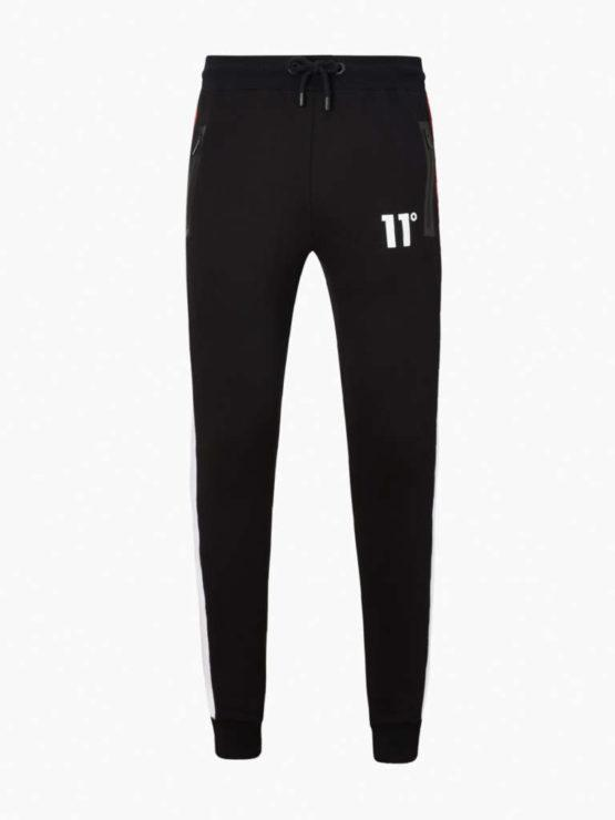 hottershop 11 Degrees CARBON PANEL JOGGERS SKINNY FIT BLACK BRICK RED WHITE