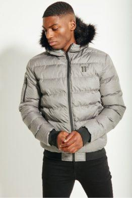 hottershop 11 Degrees Missile Heavy Bomber Jacket Grey Melange