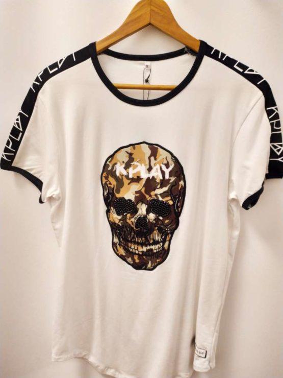 hotershop Kplay Camiseta con estampado calavera camuflaje y piedras