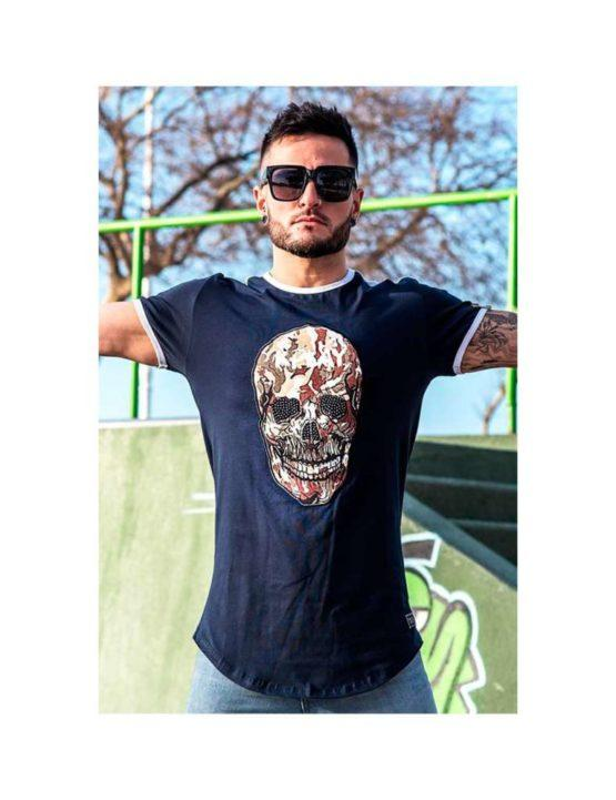 hottershop Kplay Camiseta de hombre con estampado calavera camuflaje y piedras