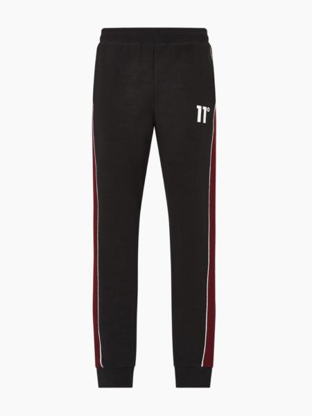 HOTTERSHOP 11 DEGREES CUT AND SEW PIPED RIB PANEL JOGGER SKINNY FIT BLACK RED