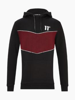HOTTERSHOP 11 DEGREES CUT AND SEW PIPED RIB PANEL PULLOVER HOODIE BLACK RED