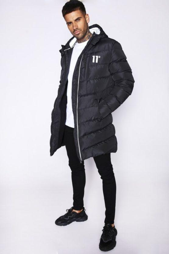 hottershop 11 Degrees Long Line Chevron Puffer Black