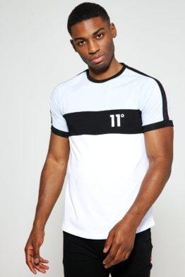 HOTTERSHOP 11 DEGREES Cut And Sew Triple Panel Taped T-Shirt Muscle Fit Powder Blue White Black