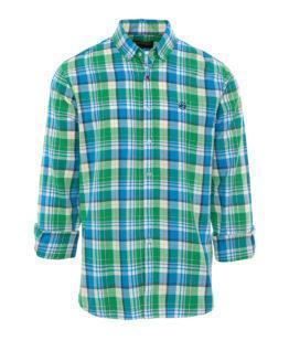 HOTTERSHOP Camisa cuadros azul, blanco y verde